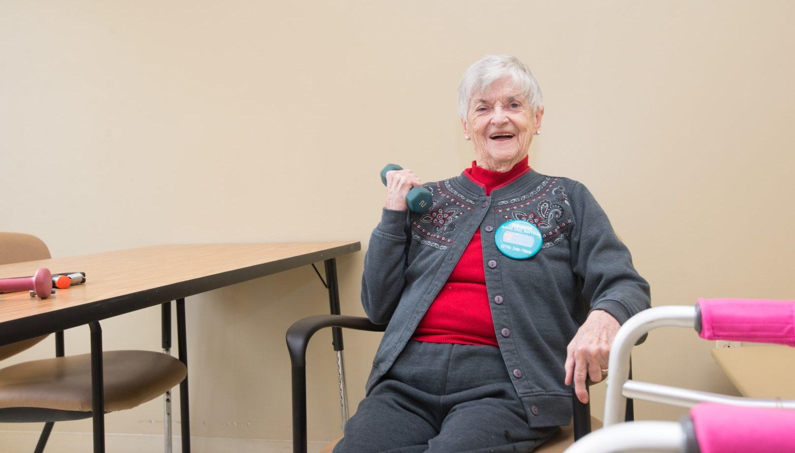 senior woman exercising at senior day services