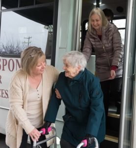 Older adults arriving by bus at Senior Day Services Scranton PA